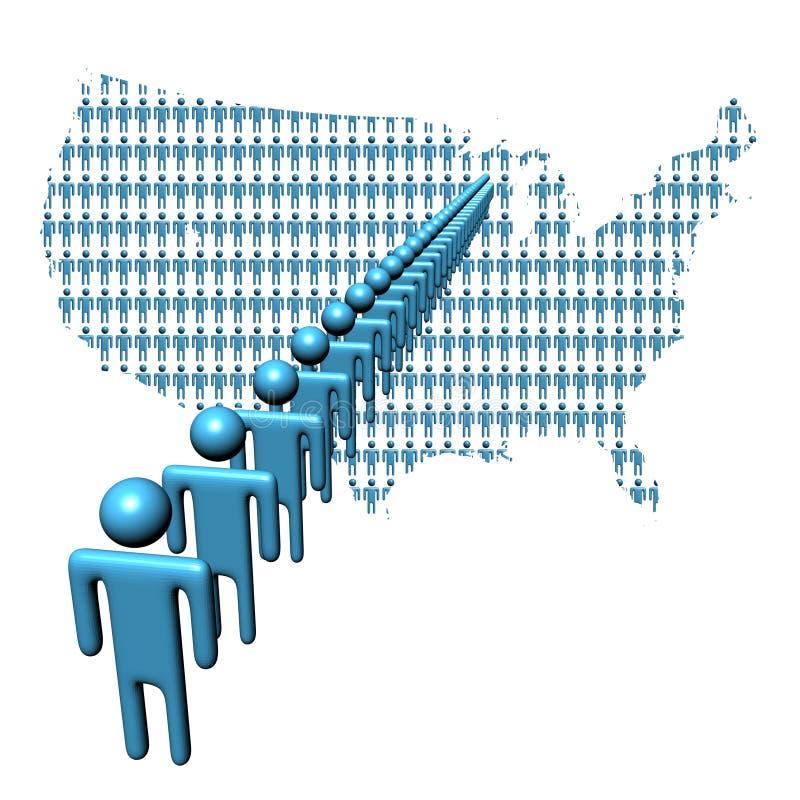 Carte des Etats-Unis avec la ligne des gens illustration stock