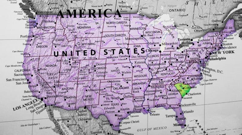 Carte des Etats-Unis d'Amérique accentuant l'état de la Caroline du Sud images libres de droits