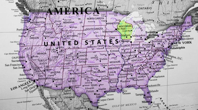 Carte des Etats-Unis d'Amérique accentuant le Wisconsin image libre de droits