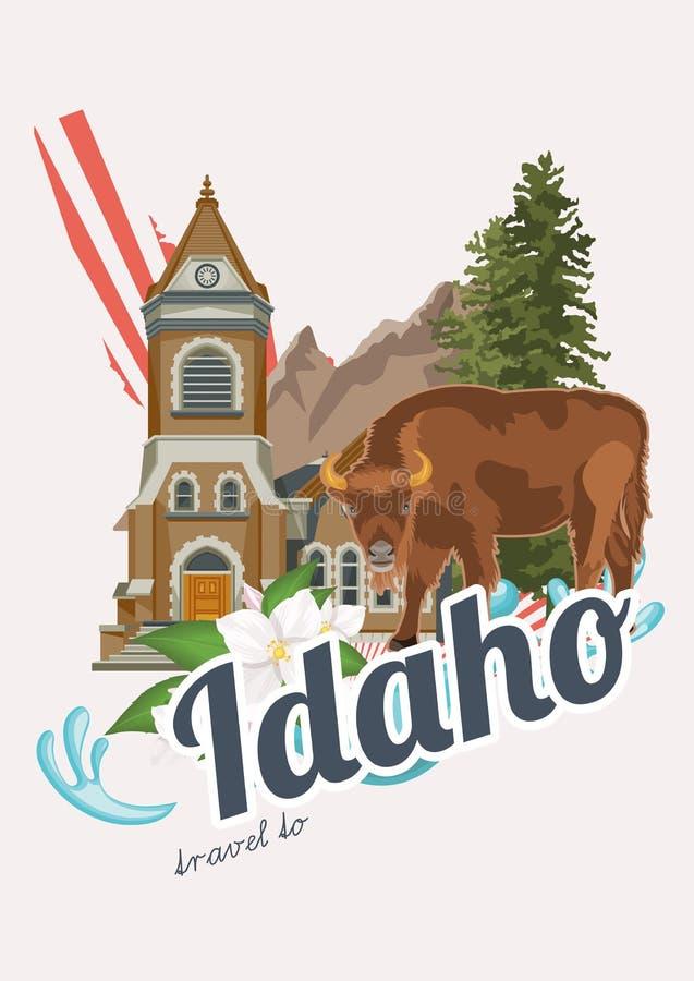 Carte des Etats-Unis d'Amérique avec des symboles de l'Idaho illustration stock
