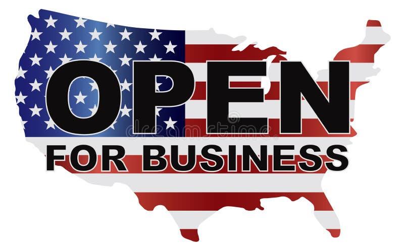 Carte des Etats-Unis d'arrêt de gouvernement ouverte pour des affaires illustration stock