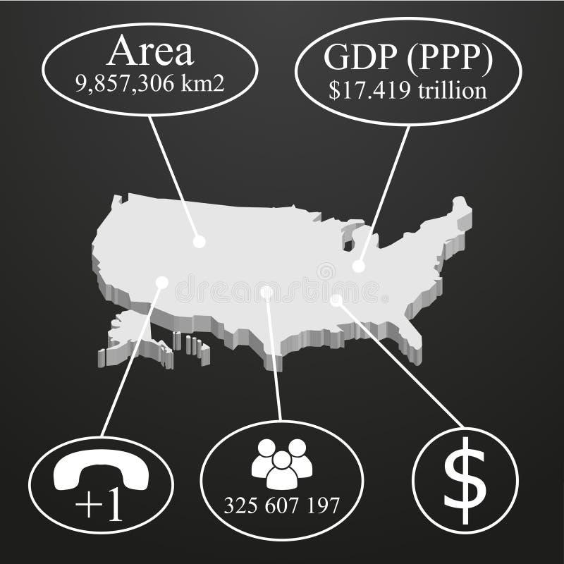 Carte des Etats-Unis dans 3D Éléments d'infographics sur des données économiques illustration de vecteur