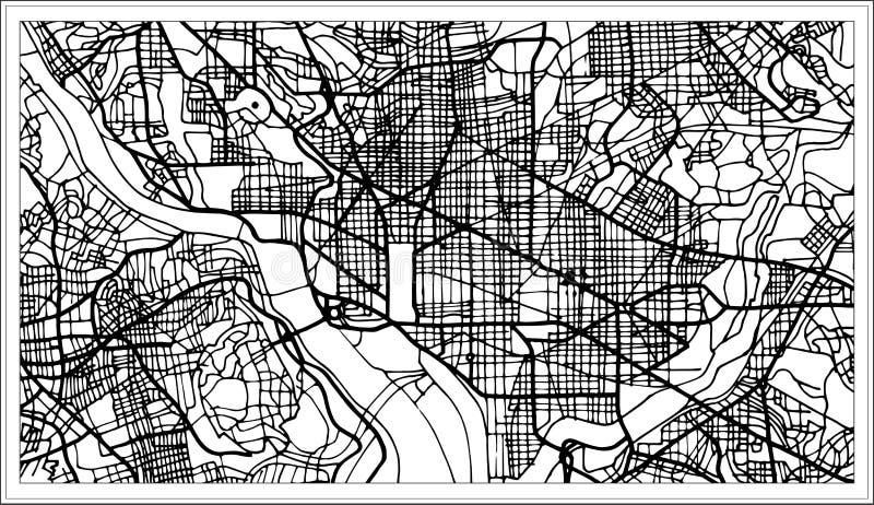 Carte des Etats-Unis de Washington DC dans la couleur noire et blanche illustration de vecteur