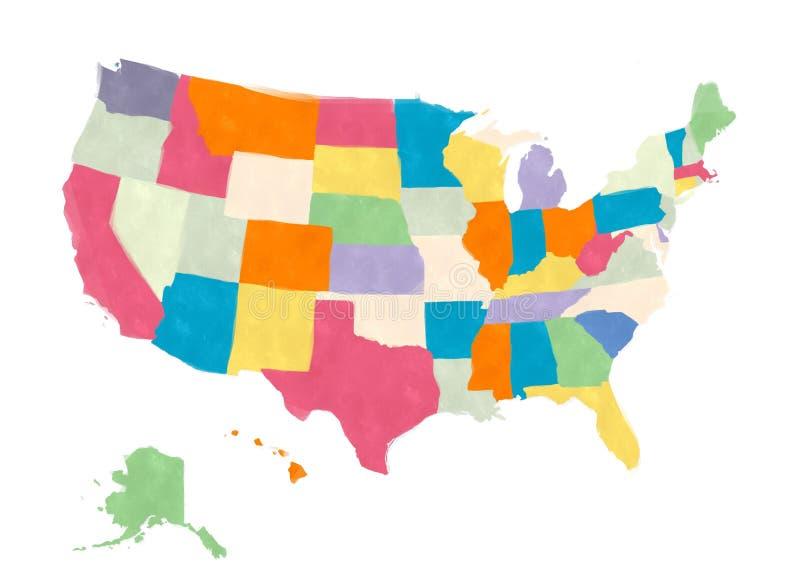 Carte des Etats-Unis FO Amérique dans les aquarelles illustration libre de droits