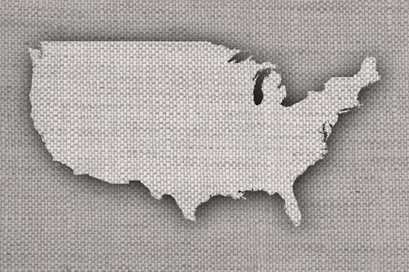 Carte des Etats-Unis sur la vieille toile image stock