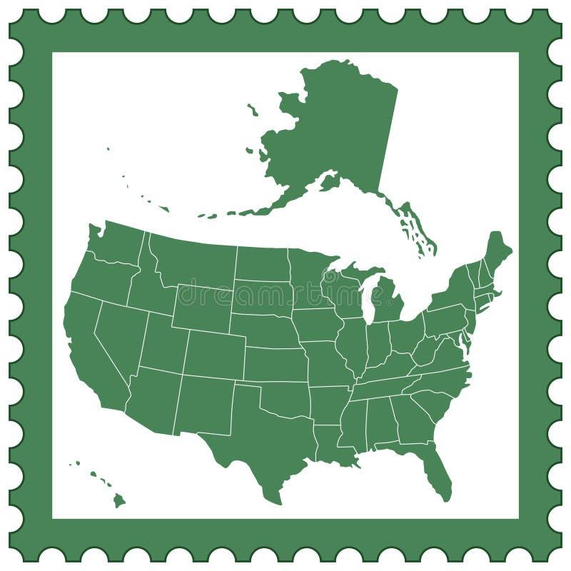 Carte des Etats-Unis sur le timbre illustration stock