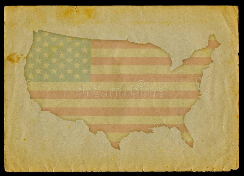 Carte des Etats-Unis sur le vieux papier illustration de vecteur