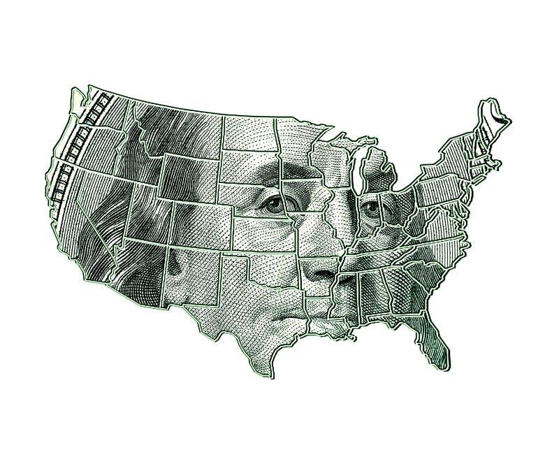 Carte des Etats-Unis sur un fond du dollar photo libre de droits