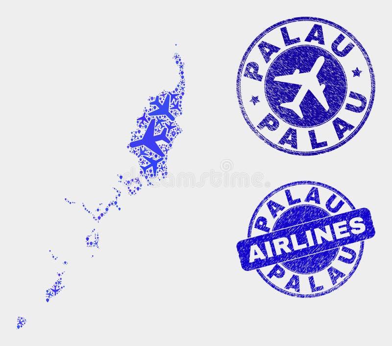 Carte des Palaos de vecteur de composition en lignes aériennes et joints grunges illustration de vecteur