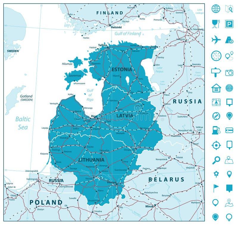 Carte des pays Baltes avec des routes et des icônes de navigation illustration libre de droits