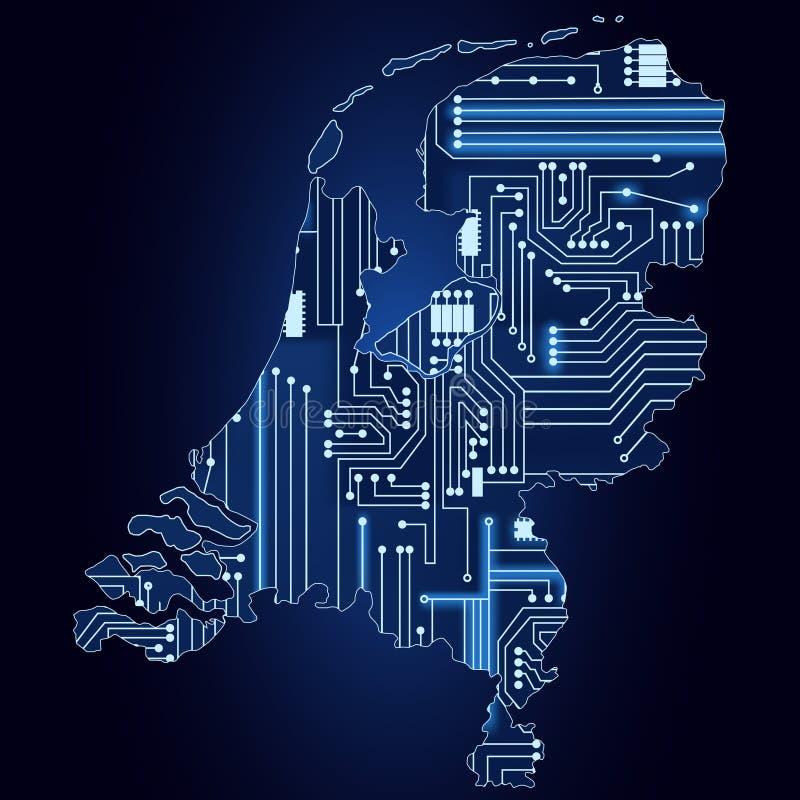 Carte des Pays-Bas avec le circuit électronique illustration stock