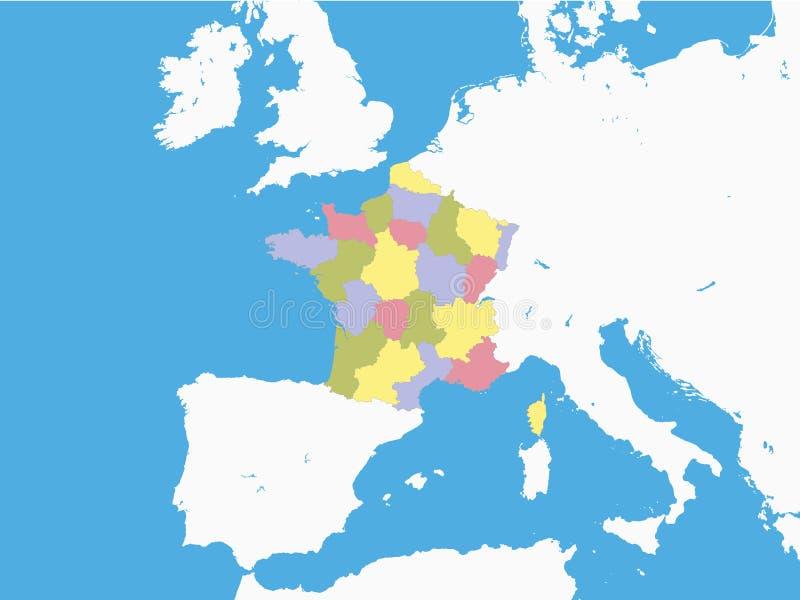 Carte des provinces de la France avec le terrain de entourage illustration stock