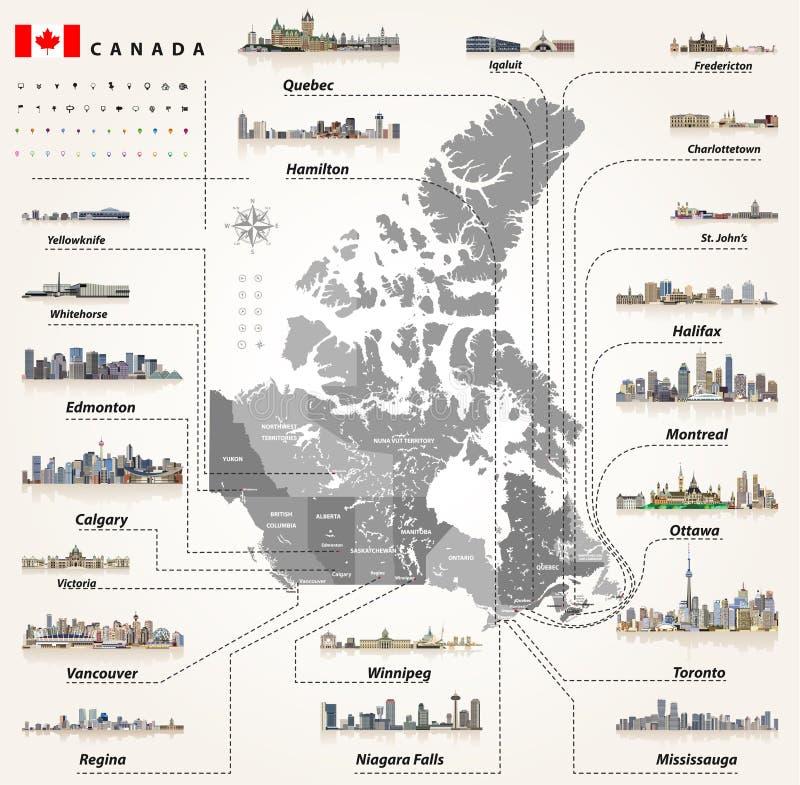 Carte des provinces et territoires de Canada avec les plus grandes villes et tous les horizons de capitaux d'états illustration libre de droits