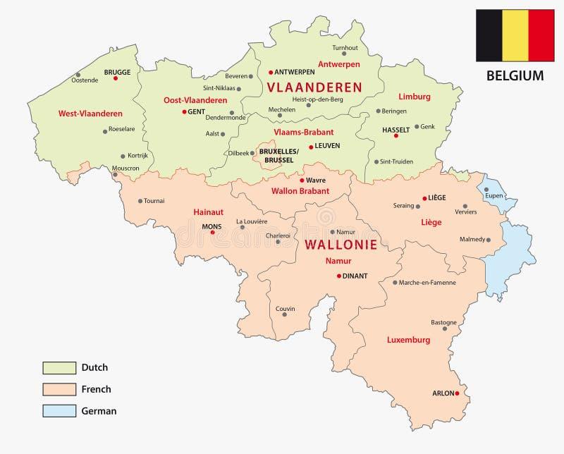 Carte des régions et des secteurs belges de langue illustration stock