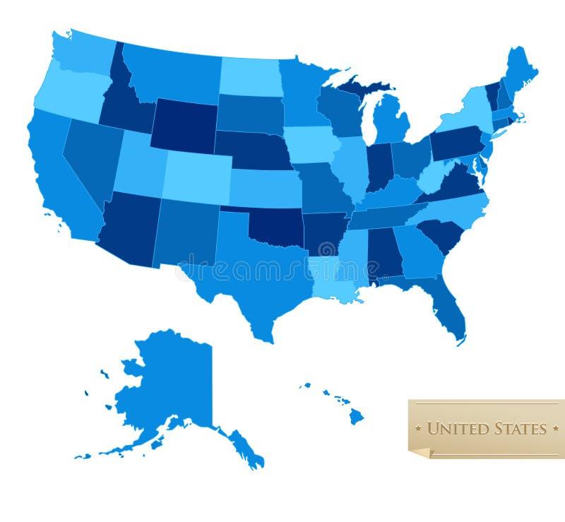 Carte des USA - les Etats-Unis tracent avec chacun des 50 états illustration stock