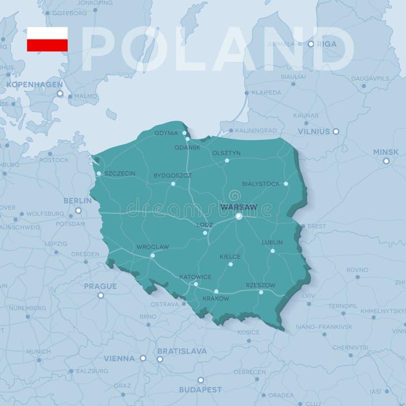 Carte des villes et des routes en Pologne illustration de vecteur