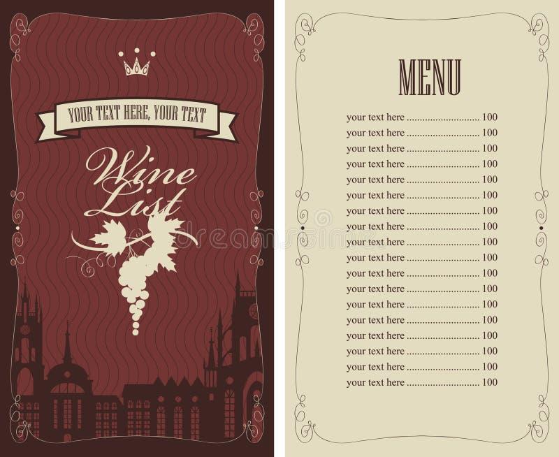 Carte des vins illustration stock
