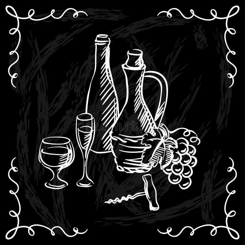 Carte des vins de restaurant ou de barre sur le tableau illustration de vecteur
