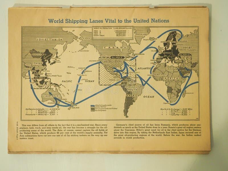 Carte des voies de navigation du monde essentielles à l'ONU en 1943 images libres de droits