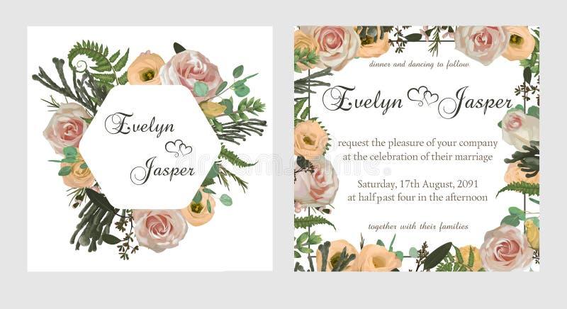 Carte di corallo alla moda di progettazione di vettore dei fiori e dell'acquerello Fiori, crema di eustoma, brunia, felce verde,  royalty illustrazione gratis