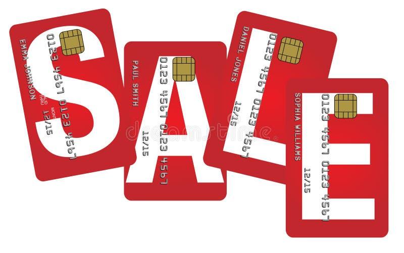 Carte di credito con il segno di vendita illustrazione di stock