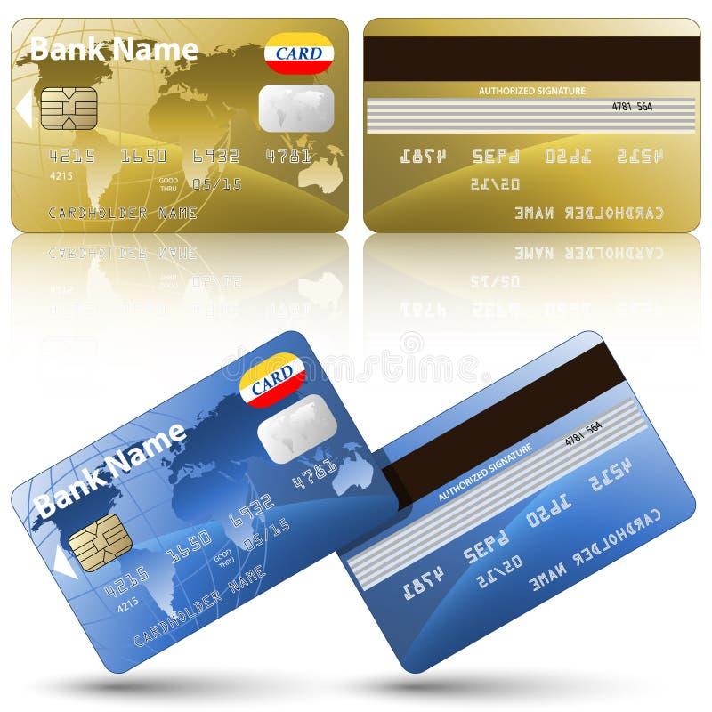 Carte di credito, parte anteriore e vista posteriore royalty illustrazione gratis