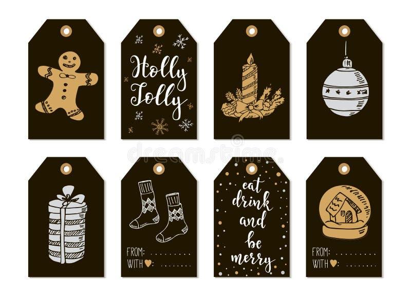 Carte di etichette d'annata del regalo del buon anno e di Buon Natale con la calligrafia illustrazione di stock