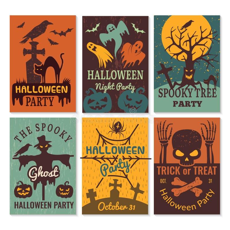 Carte di Halloween Invito delle cartoline d'auguri al modello diabolico spaventoso di progettazione di vettore del partito di Hal illustrazione vettoriale