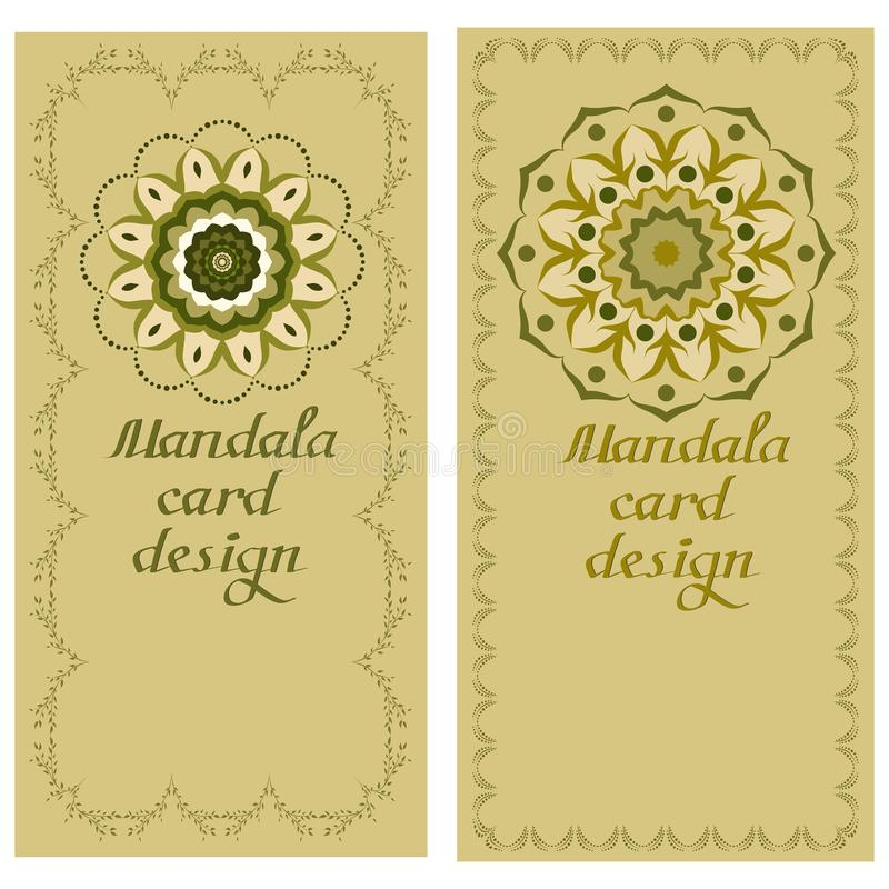 Carte di progettazione della mandala di affari Elementi decorativi illustrazione di stock
