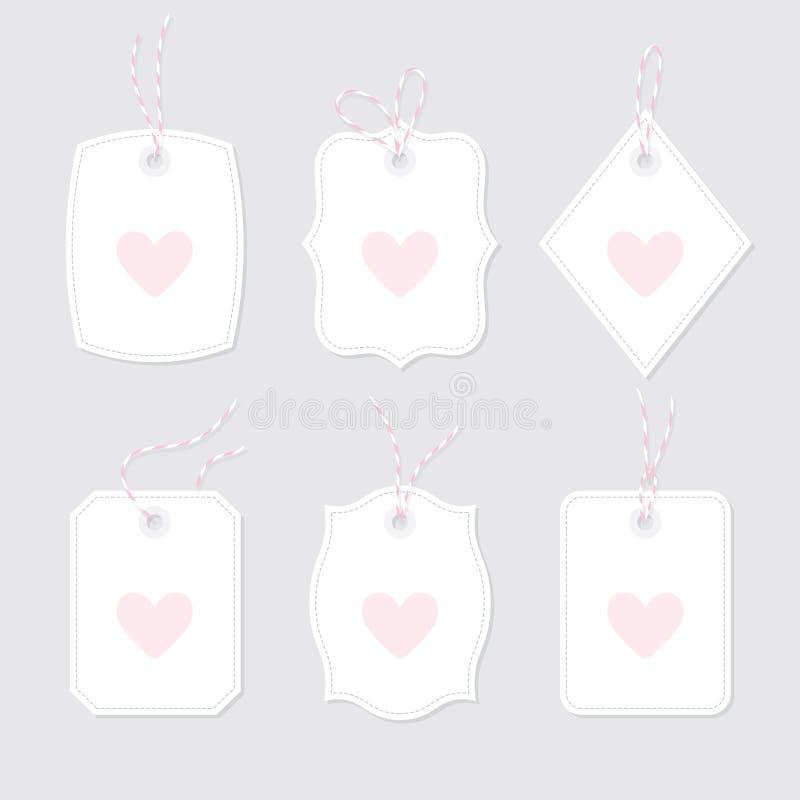Carte di regalo con cuore legato con gli archi ed i nastri della cordicella messi royalty illustrazione gratis