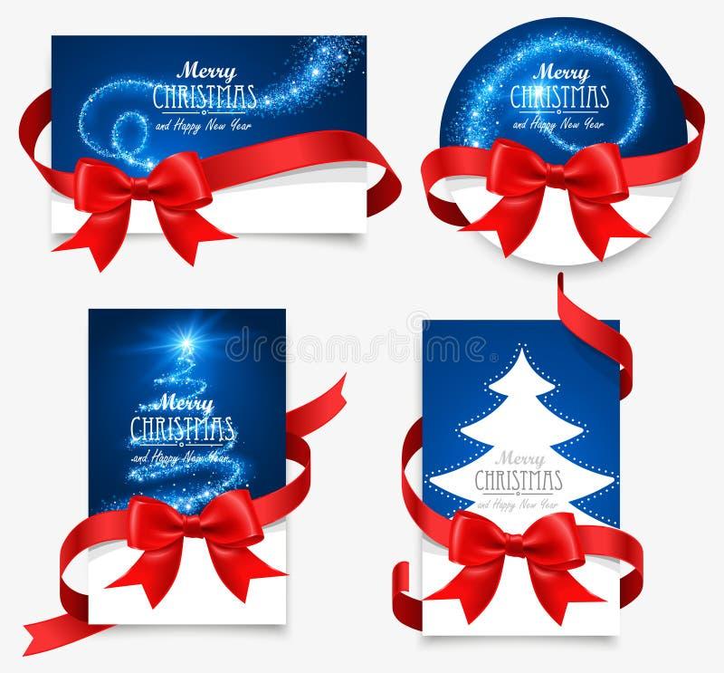 Carte di regalo con gli archi rossi illustrazione di stock
