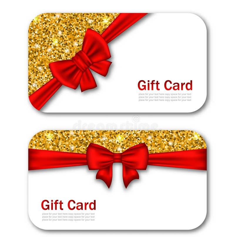 Carte di regalo con il nastro rosso dell'arco e le scintille dorate royalty illustrazione gratis
