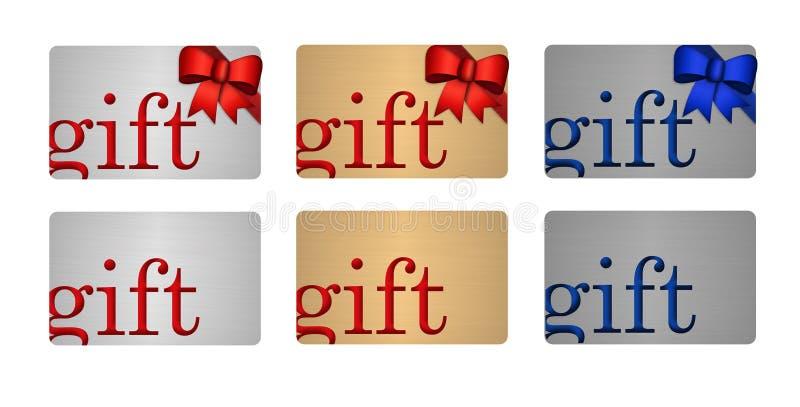 Carte di regalo in oro ed in platino d'argento illustrazione di stock