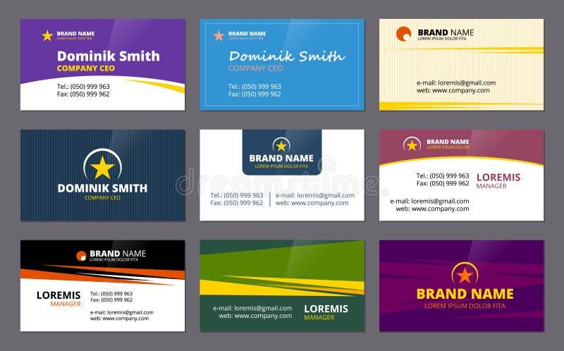 Carte di visita L'identificazione elegante della società del modello delle carte di identità corporativa di affari ha colorato il illustrazione di stock