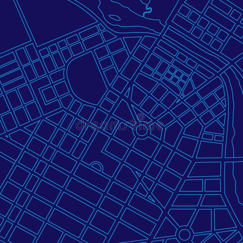 Carte digitale bleue d'une ville générique illustration libre de droits