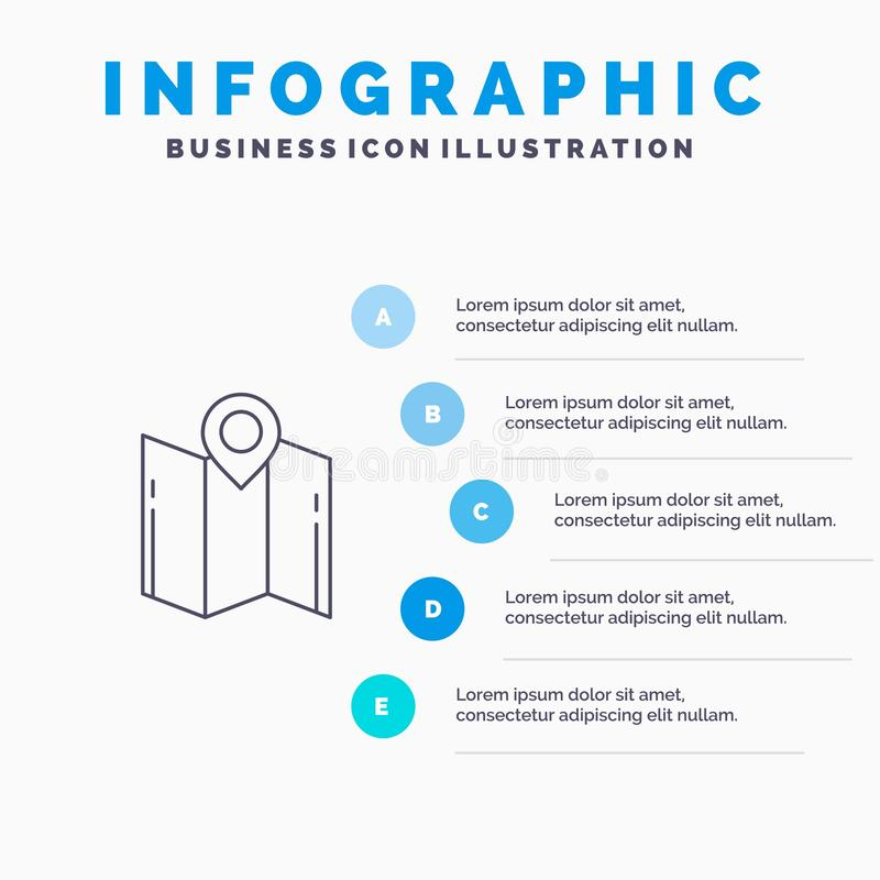 Carte, direction, emplacement, navigation, ligne icône d'indicateur avec le fond d'infographics de présentation de 5 étapes illustration stock