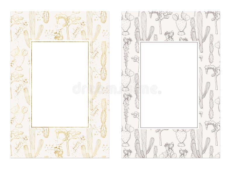 Carte dorate del cactus dell'acquerello Piante del deserto disegnate a mano isolate su fondo bianco Struttura di fioritura dei ca royalty illustrazione gratis