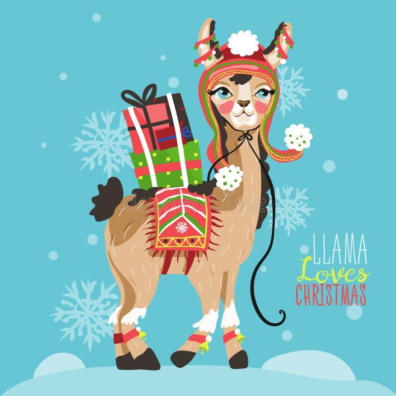 Carte drôle de Joyeux Noël avec le lama photos stock