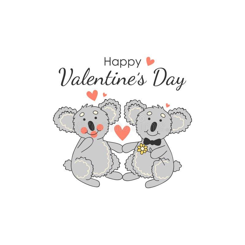 Carte drôle avec des koala de couples Animal mignon Amour illustration libre de droits