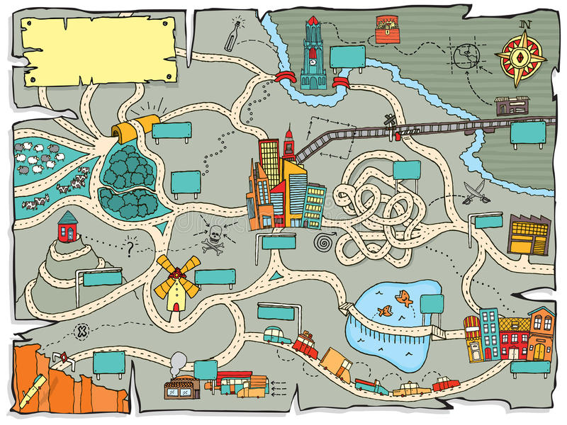 Carte drôle de trésor illustration stock