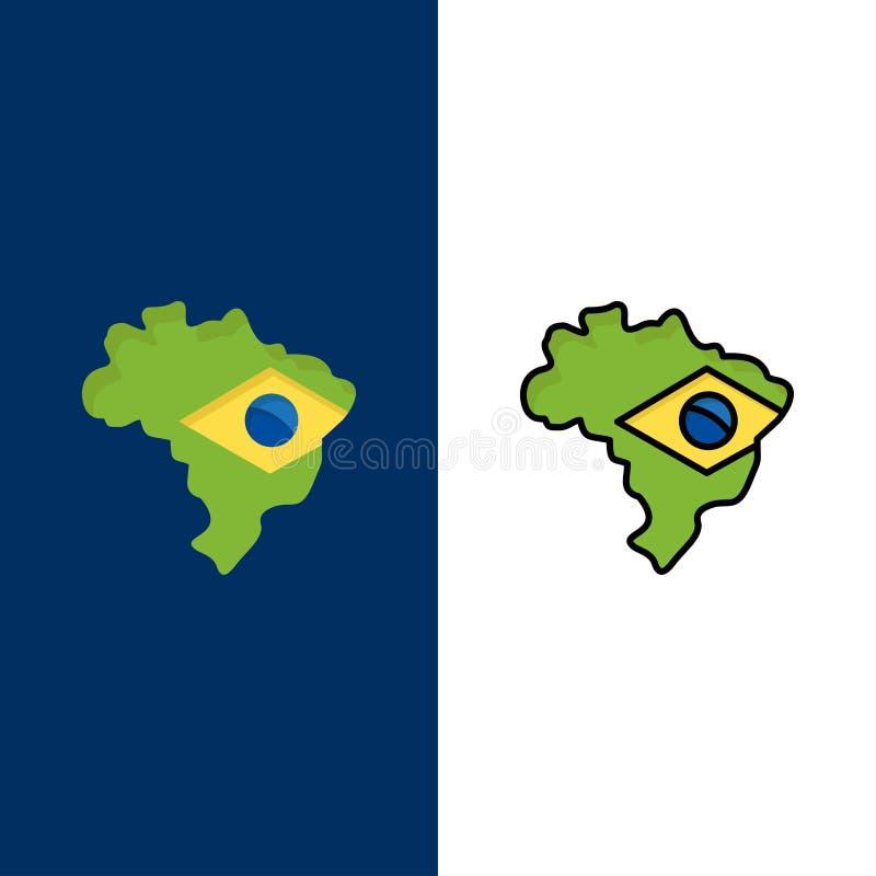 Carte, drapeau, icônes du Brésil L'appartement et la ligne icône remplie ont placé le fond bleu de vecteur illustration libre de droits