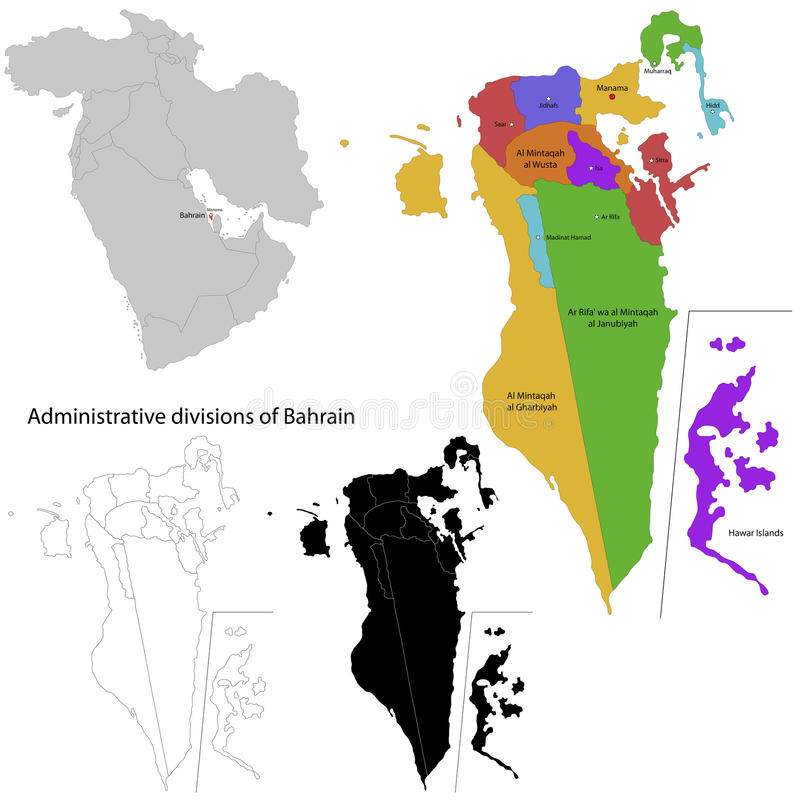 Carte du Bahrain illustration de vecteur