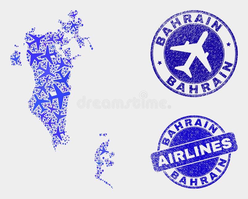 Carte du Bahrain de vecteur de mosaïque d'avion et timbres grunges illustration de vecteur