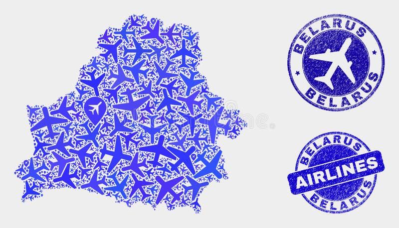 Carte du Belarus de vecteur de mosaïque d'avion et timbres grunges illustration libre de droits