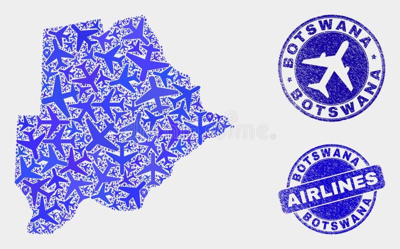 Carte du Botswana de vecteur de collage d'avion d'air et timbres grunges illustration stock