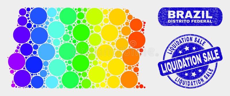 Carte du Brésil Distrito de mosaïque de spectre et joint fédéraux de vente de liquidation de détresse illustration stock