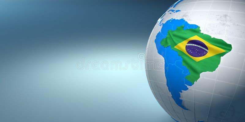 Carte du Brésil sur terre dans les couleurs nationales illustration stock