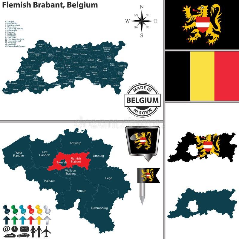 Carte du Brabant flamand, Belgique illustration stock