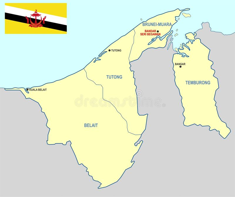 Carte du Brunei photos libres de droits