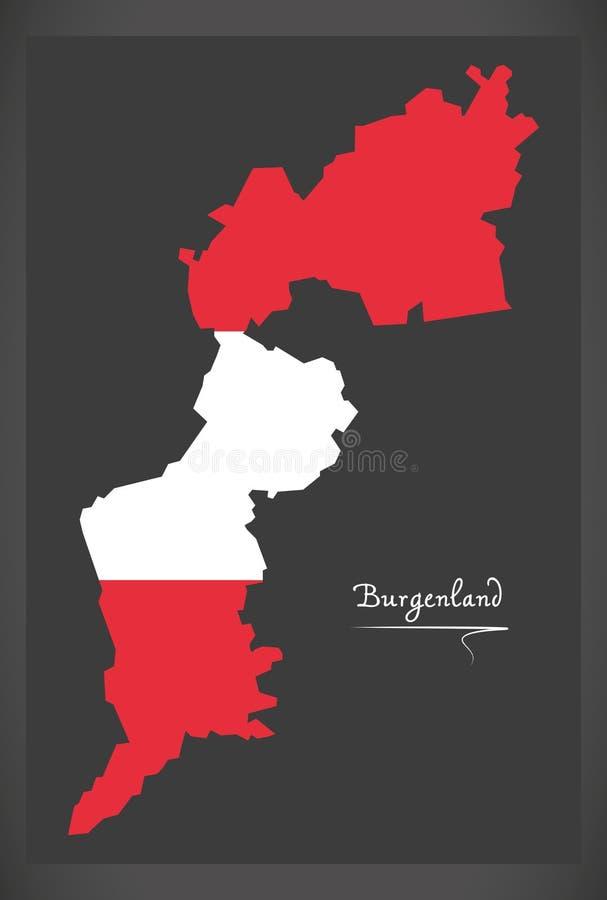 Carte du Burgenland de l'Autriche avec l'illustrati autrichien de drapeau national illustration libre de droits